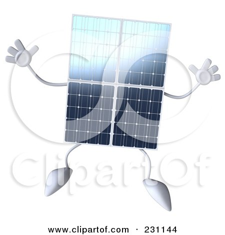 Royalty-Free (RF) Clipart Illustration of a 3d Solar Panel Character Jumping by Julos