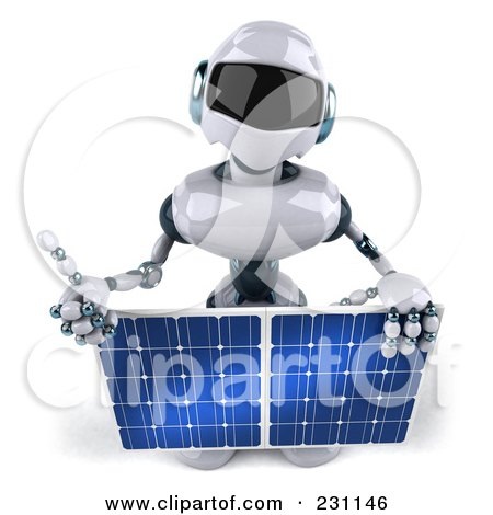 Royalty-Free (RF) Clipart Illustration of a 3d Techno Robot Holding A Solar Panel - 2 by Julos