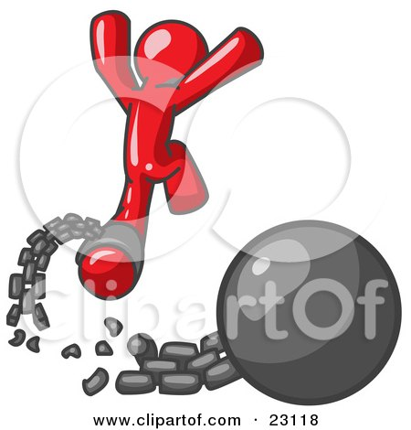 Clipart Illustration of a Red Man Jumping For Joy While Breaking Away From a Ball and Chain, Symbolizing Freedom From Debt Or Divorce by Leo Blanchette