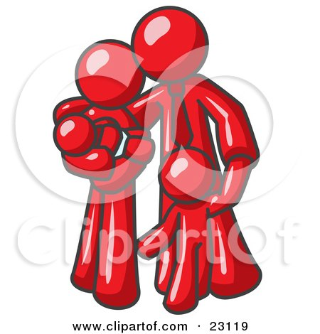 Clipart Illustration of a Red Family Man, a Father, Hugging His Wife and Two Children by Leo Blanchette