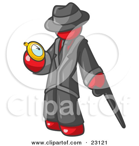 Clipart Illustration of a Red Businessman Checking His Pocket Watch by Leo Blanchette