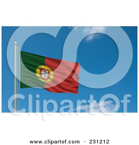 Royalty-Free (RF) Clipart Illustration Of The Flag Of Portugal Waving On A Pole Against A Blue Sky by stockillustrations