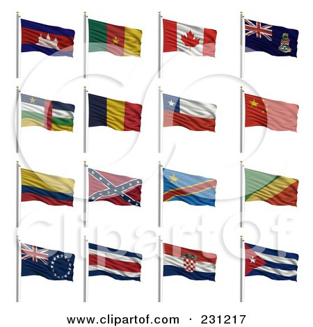Royalty-Free (RF) Clipart Illustration of a Digital Collage Of 3d Waving National Flags With The Letter C - Cambodia, Cameroon, Canada, Cayman Islands, Central African Republic, Chad, Chile, China, Colombia, Confederate, Congo (Democratic Rep), Cook Islan by stockillustrations
