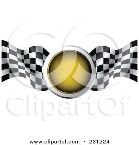 Royalty-Free (RF) Clipart Illustration of a Yellow Traffic Light With Checkered Racing Flags by MilsiArt