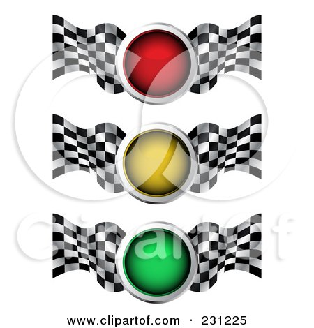 Royalty-Free (RF) Clipart Illustration of a Digital Collage Of Red, Yellow And Green Traffic Lights With Checkered Racing Flags by MilsiArt