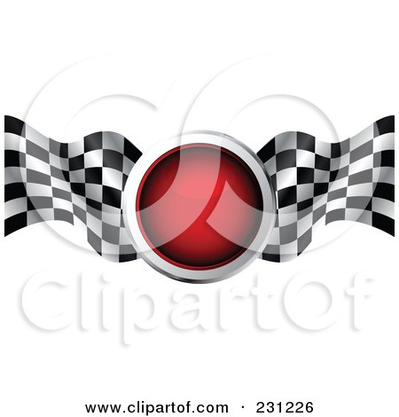 Royalty-Free (RF) Clipart Illustration of a Red Traffic Light With Checkered Racing Flags by MilsiArt