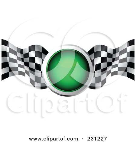 Royalty-Free (RF) Clipart Illustration of a Green Traffic Light With Checkered Racing Flags by MilsiArt