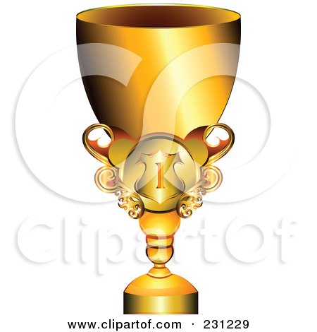Royalty-Free (RF) Clipart Illustration of a 3d Shiny Gold Trophy Cup by MilsiArt