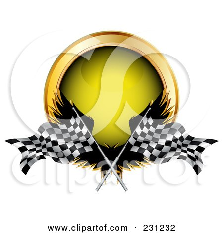 Royalty-Free (RF) Clipart Illustration of Wings, Racing Flag And A Yellow Button by MilsiArt