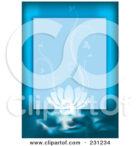 Royalty-Free (RF) Clipart Illustration of a Blue Spa Background Border With A Lotus Flower by MilsiArt