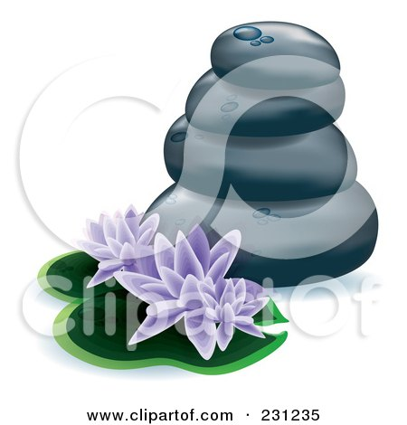 Royalty-Free (RF) Clipart Illustration of Purple Lotus Flowers And Lily Pads With Stacked Spa Stones by MilsiArt