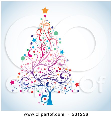 Royalty-Free (RF) Clipart Illustration of a Floral Christmas Tree On Shaded White by MilsiArt