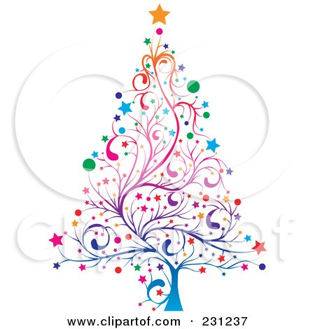 Royalty-Free (RF) Clipart Illustration of a Colorful Floral Christmas Tree by MilsiArt