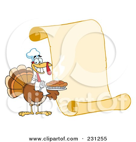 Turkey Bird Holding A Pie By A Blank Menu Scroll Poster Art Print jpg