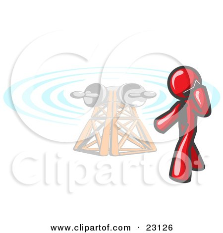 Clipart Illustration of a Red Businessman Talking on a Cell Phone, a Communications Tower in the Background by Leo Blanchette