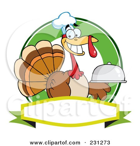 Royalty-Free (RF) Clipart Illustration of a Thanksgiving Turkey Bird Chef Holding A Platter Over A Blank Banner - 2 by Hit Toon