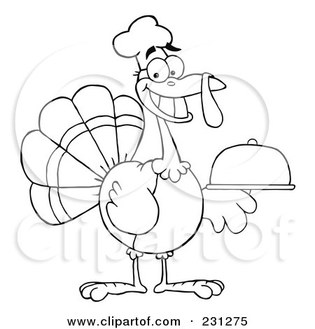 Royalty-Free (RF) Clipart Illustration of a Coloring Page Outline Of A Thanksgiving Turkey Bird Chef Holding A Platter by Hit Toon