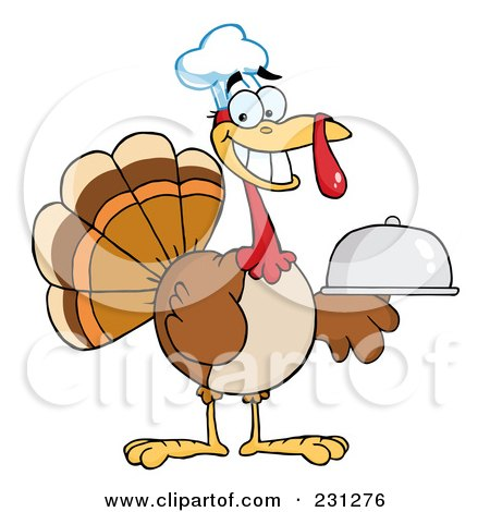 Royalty-Free (RF) Clipart Illustration of a Thanksgiving Turkey Bird Chef Holding A Platter - 1 by Hit Toon