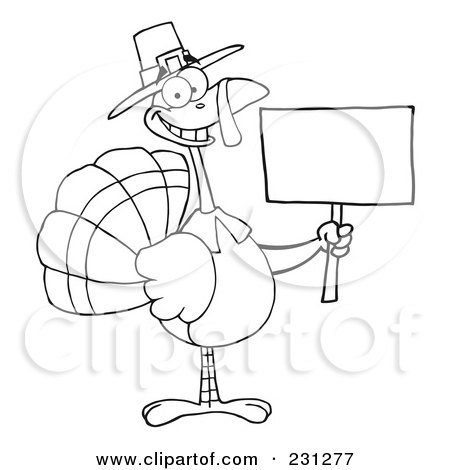 Turkey Holding Sign Black And White Free Clipart