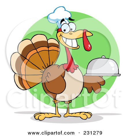 Royalty-Free (RF) Clipart Illustration of a Thanksgiving Turkey Bird Chef Holding A Platter - 2 by Hit Toon