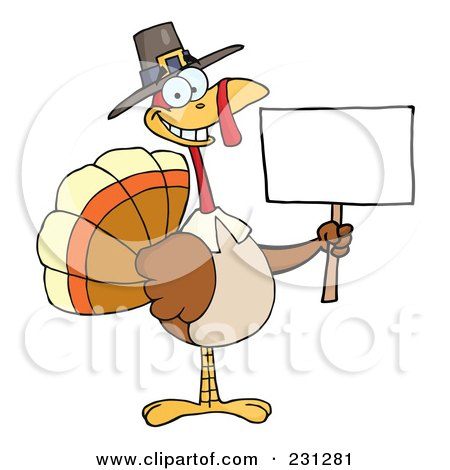 Royalty-Free (RF) Clipart Illustration of a Happy Thanksgiving Pilgrim Turkey Bird Holding A Blank Sign - 1 by Hit Toon