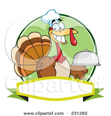 Royalty-Free (RF) Clipart Illustration of a Thanksgiving Turkey Bird Chef Holding A Platter Over A Blank Banner - 1 by Hit Toon