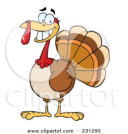 Royalty-Free (RF) Clipart Illustration of a Happy Thanksgiving Turkey Bird Smiling by Hit Toon
