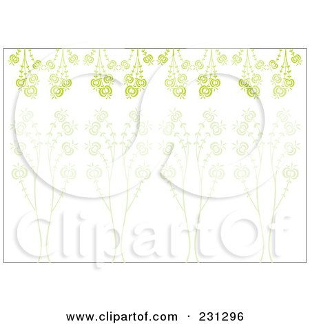 Royalty-Free (RF) Clipart Illustration of a Green Horizontal Floral Border Background by Cherie Reve