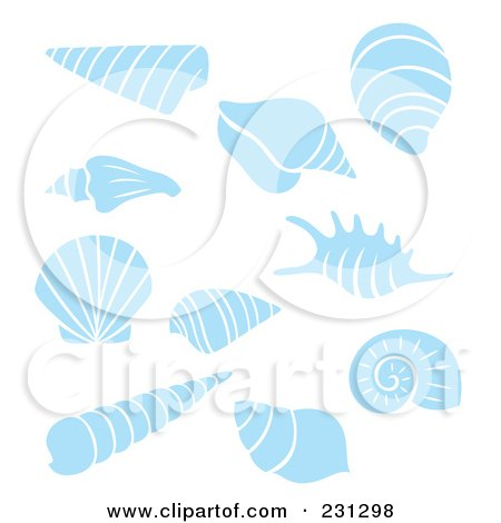 Royalty-Free (RF) Clipart Illustration of a Digital Collage Of Blue And White Sea Shells by Cherie Reve