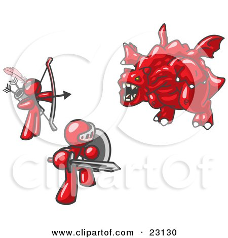 Clipart Illustration of Two Red Men Working Together to Conquer an Obstacle, a Dragon by Leo Blanchette
