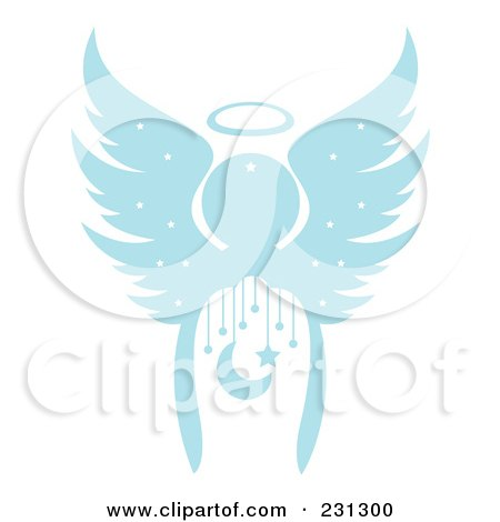 Royalty-Free (RF) Clipart Illustration of a Blue Christmas Angel With A Crescent Moon And Stars by Cherie Reve