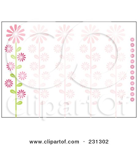 Royalty-Free (RF) Clipart Illustration of a Pink And Green Horizontal Daisy Floral Border Background by Cherie Reve