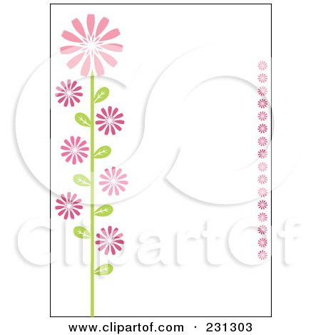 Royalty-Free (RF) Clipart Illustration of a Pink And Green Vertical Daisy Floral Border Background by Cherie Reve