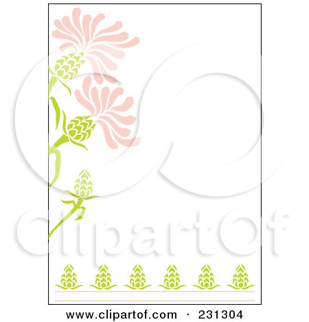 Royalty-Free (RF) Clipart Illustration of a Pink And Green Vertical Floral Border Background by Cherie Reve