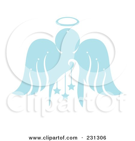 Royalty-Free (RF) Clipart Illustration of a Blue Christmas Angel With Stars by Cherie Reve