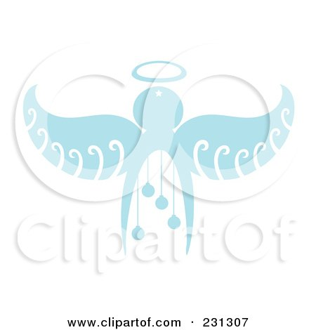 Royalty-Free (RF) Clipart Illustration of a Blue Christmas Angel With Baubles by Cherie Reve