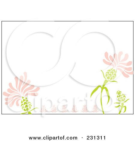 Royalty-Free (RF) Clipart Illustration of a Pink And Green Horizontal Floral Border Background by Cherie Reve