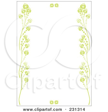 Royalty-Free (RF) Clipart Illustration of a Green Vertical Floral Border Background by Cherie Reve