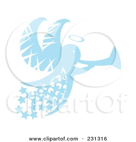 Royalty-Free (RF) Clipart Illustration of a Blue Christmas Angel With Stars And A Horn by Cherie Reve