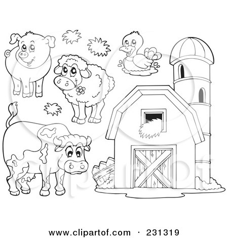 digital collage of coloring page outlines of farm animals and a barn with granary by visekart
