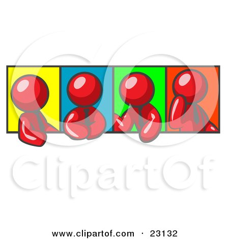 Clipart Illustration of Four Red Men In Different Poses Against Colorful Backgrounds, Perhaps During A Meeting by Leo Blanchette