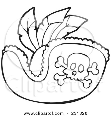 Royalty Free RF Clipart Illustration Of A Coloring Page Outline Pirate Hat By Visekart