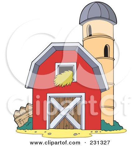 Royalty-Free (RF) Clipart Illustration of a Barn And Silo Granary by visekart