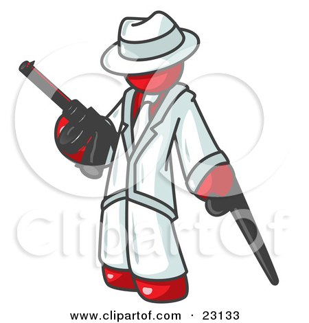 Clipart Illustration of a Red Gangster Man Carrying a Gun and Leaning on a Cane by Leo Blanchette
