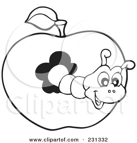 Royalty-Free (RF) Clipart Illustration of a Coloring Page Outline Of A Worm In An Apple by visekart