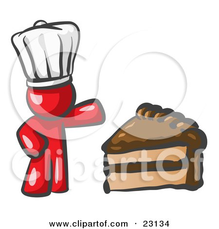 Clipart Illustration of a Red Chef Man Wearing A White Hat And Presenting A Tasty Slice Of Chocolate Frosted Cake by Leo Blanchette