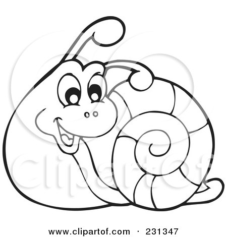 Clipart Of A Happy Brown And Green Snail