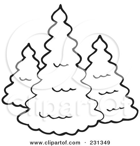 Royalty-Free (RF) Clipart Illustration of a Coloring Page Outline Of Three Evergreens by visekart