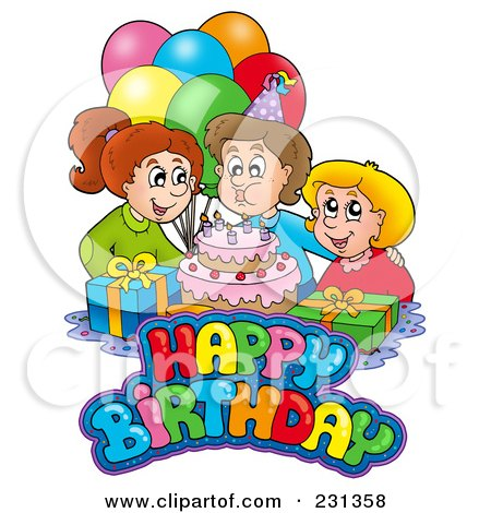 Royalty-Free (RF) Clipart Illustration of Friends By A Birthday Boy Blowing Out His Candles by visekart