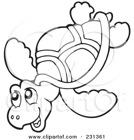 Ocean Coloring Pages on Illustration Of A Coloring Page Outline Of A Sea Turtle By Visekart